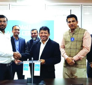 Abul Kasem Mohiuddin Al-Amin, Chief Procurement Officer of Grameenphone (GP), Khondaker Abdullah Al Mamun, Chairman of CMED Health and Minhaz Khan, Managing Director of Inovace, exchanging a MoU signing documents at GP House in the city recently. Under the deal, three companies will collaborate for development and implementation of IoT based cutting-edge applications in accordance with crucial requirements of Bangladesh. Mahmud Hossain, Chief Business Officer of Grameenphone and high official from respective organizations were also present.
