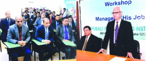 Safiul Alam Khan Chowdhury, Additional Managing Director of Pubali Bank Limited, addressing at a training course on 'Manager and His Job' at the bank's Training Institute in the city recently. Niranjan Chandra Gope, Principal of the institute was also present.