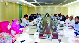SM Amzad Hossain, Chairman, Board of Directors of South Bangla Agriculture & Commerce (SBAC) Bank Limited, presiding over its 81st meeting at its head office in the city on Sunday. Md. Golam Faruque, Managing Director and other members of the Bank were also present.