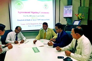 Mohammad Jalal Uddin, Managing Director of Ansar-VDP Unnayon Bank and Monoz Kanti Boiragi, General Manager of Agri and Rural Credit Division of Bangladesh Bank, signing an agreement on Tk. 200 crore loan for distributing among the members of Ansar-VDP in the city recently.
