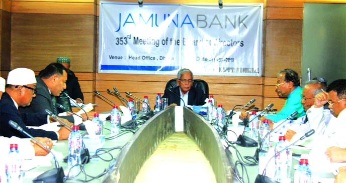 Engineer Md. Atiqur Rahman Chairman, Board of Directors of Jamuna Bank Limited, presiding over its 353rd meeting at its head office in the city recently. Nur Mohammed, Chairman of Jamuna Bank Foundation, Shafiqul Alam, CEO and directors of the bank were also present.