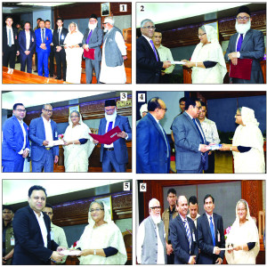 The following banks donate to the Prime Minister's Relief and Welfare Fund at Ganobhaban on Wednesday. Prime Minister Sheikh Hasina is seen receiving the cheques worth Tk 3cr each from (1) National Bank Ltd (2) Prime Bank Ltd (3) Al-Arafah Islami Bank Limited (4) Bank Asia (5) City Bank Ltd and (6) First Security Islami Bank Limited.