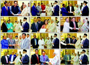 The following banks donate to the Prime Minister's Relief and Welfare Fund at Ganobhaban recently. Prime Minister Sheikh Hasina is seen receiving the cheques worth Tk 5 crore each from (1) Bank Asia (2) Islami Bank Bangladesh (3) Jamuna Bank (4) Al-Arafah Islami Bank (5) Mercantile Bank (6) NCC Bank (7) Prime Bank (8) Pubali Bank (9) Standard Bank (10) United Commercial Bank (11) Social Islami Bank and (12) ONE Bank.