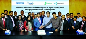 Md Arfan Ali, Managing Director of Bank Asia Ltd, launching the bank's online marketplace at Agent Banking outlets through partnership with Grameenphone at the bank's corporate office in the city recently.