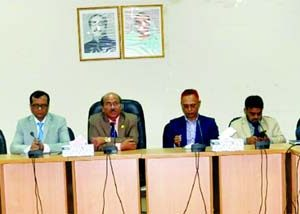 Md. HaiulQuaium, Chairman of Bangladesh Chemical Industries Corporation (BCIC), addressing to the divisional heads at its head office in the city on Sunday. All the director of BCIC were also present.