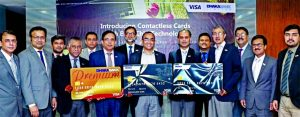 Syed Mahbubur Rahman, Managing Director of Dhaka Bank Limited, unveiling its full range of contactless cards with embedded EMV Chip technology with Visa at the Bank's head office in the city on Saturday. With this, the Bank has embarked on the journey of bringing latest technology of card-based payments in the country and the Bank brings Visa Signature, Platinum and Gold Credit Cards which bring more speed, convenience and security in everyday payments. For payments of up to Tk.3,000; the contactless option of the cards will be available at the outlets where contactless cards are accepted. Other high officials of the Bank were also present.