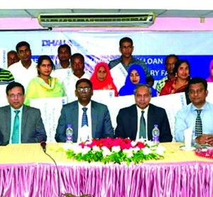 Kazi Saidur Rahman, Executive Director of Bangladesh Bank, presiding over the launching ceremony of 'Dhaka Bank Dairy Loan' at Bogra Sadar recently. Under the project, farmers will get the loan within 72 hours of application. Sakir Amin Chowdhury, DMD, Md. Sirajul Haque, Head of SME and Agree Division and Faruque Ahmed, Head of North Region of the Dhaka bank were also present.