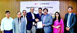 Syed Faridul Islam, DMD and Chief Risk Officer of Prime Bank Limited and A Dasgupta, CEO of LIC Bangladesh Limited, exchanging an agreement signing document for pan-country collection at the Bank's head office in the city recently. Under the deal, LIC Bangladesh Ltd will be able to better manage their pan country receivables from their customers. Top officials from the organizations were also present.