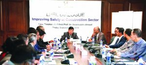 Rajesh K Surana, CEO of Lafarge-Holcim Bangladesh, presiding over a roundtable discussion on 'Improving Safety in Construction Sector' at a city hotel on Saturday. Architect Professor Dr Nizamuddin Ahmed of BUET, Mohiuddin Babar, Communication Consultant of the company and experts from different organizations also took part in the discussion.