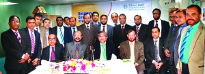 Professor Syed Ahsanul Alam, Vice Chairman of Islami Bank Bangladesh Ltd, poses with the participants of 'Business Development Conference of Dhaka Central Zone' at its Zonal Office in the city recently. Md Mosharraf Hossain, Executive Vice President and Head of the Zone, AAM Habibur Rahman, Executive Vice President, Md Saleh Iqbal, Head of Branches Control Division, Md Kawsar-ul-Alam, Head of SME-II Division and Mohammad Ullah, Executive Vice President and Managers of the Branches under Central Zone of the bank were present among others.