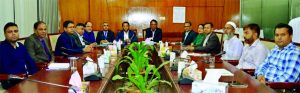 Kazi Sanaul Hoq, Managing Director of Investment Corporation of Bangladesh (ICB) also the President of Bangladesh Merchant Bankers Association (BMBA), presiding over an emergency meeting regarding overcoming the present situation of ICB and BMBA at its office in the city recently. Other members from both organizations were also present.
