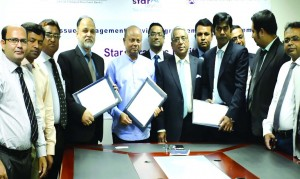 Syed AK Anwaruzzaman, Managing Director of Star Ceramics Limited, Mohammad Sarwar Hossain, Managing Director of Roots Investment Limited and Md. Sohel Rahman, CEO of ICB Capital Management Limited, signed a tripartite agreement for issuance of ordinary share of the ceramics through Initial Public Offering (IPO) under book building method on Monday in the city. Senior officials from respective organizations were present.