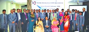 Md. Zakiullah Shahid, Chairperson, Board of Directors of Prime Insurance Company Limited, poses for a photo session with the participants of its two days long Annual Branch Conference at its head office in the city recently. Mohammodi Khanam, CEO, Saheda Pervin Trisha, Vice-Chairperson and other senior officials of the company were also present.