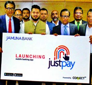 "Jamuna Bank Ltd launches its mobile app ""justpay"" at its head office recently. Redwan ul Karim Ansari, Director and Shafiqul Alam, Managing Director, Additional Managing Director, Mirza Ilias Uddin Ahmed, Deputy Managing Director A. K. M. Saifuddin Ahamed of the Bank and other officials of Circle Fintech Limited were present in the launching programme. JUSTPAY is now available for download at Google Play Store & Apple Store."