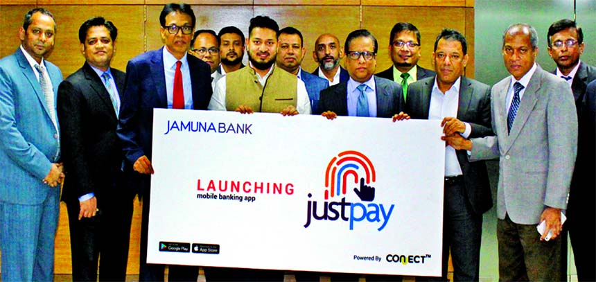 """Jamuna Bank Ltd launches its mobile app """"justpay"""" at its head office recently. Redwan ul Karim Ansari, Director and Shafiqul Alam, Managing Director, Additional Managing Director, Mirza Ilias Uddin Ahmed, Deputy Managing Director A. K. M. Saifuddin Ahamed of the Bank and other officials of Circle Fintech Limited were present in the launching programme. JUSTPAY is now available for download at Google Play Store & Apple Store."""