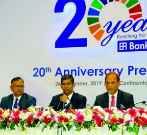 Md Abdur Razzak, founder Managing Director of JMI Syringes & Medical Devices Limited, presiding over its 20th AGM at a hotel in the city on Saturday. The AGM approved 30 per cent cash dividend for its shareholders. Zbed Ikbal Pathan, Chairman of the company and Hisao Nakamori, Director of NIPRO Corporation were also present.