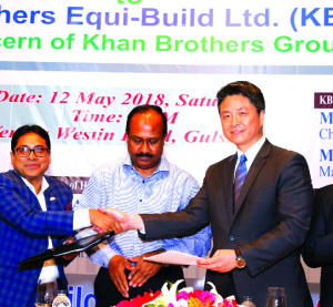 Md Enamul Kabir Khan, Chairman of Khan Brothers Equi-Build Ltd, a sister concern of Khan Brothers Group and Roger S Che, Director (Asia Region) of SIGMA Elevator Distributorship sign a MoU at a city hotel recently. State Minister for Labour & Manpower Employment Md Mujibul Haque Chunnu was present there as the chief guest, while Shamim Osman MP was present as the special guest.
