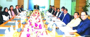 Humayun Kabir, Chairman of Modhumoti Bank Limited, presiding over its 33rd Board of Directors Meeting at its head office in the city on Thursday. Barrister Sheikh Fazle Noor Taposh, MP, EC Chairman, Md. Shafiul Azam, Managing Director, Mohammad Ismail Hossain, Salahuddin Alamgir, Mostafa Kamal, Tanjima Bin Mostafa, Humayun Kabir, A. Mannan Khan, Manwar Hossain, Ahsanul Islam Titu, Md. Didarul Alam, Mojibul Islam Panna and Syeda Sharmin Hossain, members of the Board of Directors were also present.