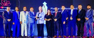 Syed Rafiqul Haq, AMD of Mutual Trust Bank Limited, receiving the 'Excellence in Mastercard Co Brand Business 2018-19 & Pioneer in Mastercard Contactless Credit Issuance 2018-19 Award' from Md. Ashadul Islam, Senior Secretary of Financial Institutions Division of Finance Ministry organized by Mastercard Bangladesh at a hotel in the city recently. Ahmed Jamal, Deputy Governor of Bangladesh Bank, JoAnne Wagner, Charged' Affairs of US Embassy in Dhaka and Syed Mohammad Kamal, Country Manager of Mastercard Bangladesh were also present.