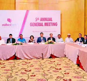 Nilufer Zafarullah, MP, Vice Chairman of the Board of Directors of Midland Bank Limited presiding over its 5th Annual General Meeting at a city auditorium recently. Md. Ahsan-uz Zaman, Managing Director and Mohammad Masoom, AMD of the Bank were also present. The AGM approves 10 pc stock dividends for the year 2017 for its shareholders.