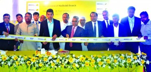 Nizam Chowdhury, Chairman of NRB Global Bank Ltd, inaugurating its Madhabdi Branch at Narsingdi on Sunday. Proshanta Kumar Halder, Managing Director, Rashed Uddin Mahmud, Director of the bank and local elites were also present.