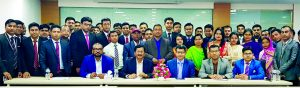 "Md Mehmood Husain, Managing Director of NRB Bank Limited, poses with the participants of a daylong training program ""Anti-Money Laundering &Foundation Training for Agents and Agent Officials"" at the Bank's Training Institute in Dhaka recently. Milton Roy, Head of Agent Banking, Sarfuddin Md. Redwan Patwary, Deputy CAMLCO (CC) and Mohammad Rafiqul Islam, CDCS, Head of Learning & Development were also present."