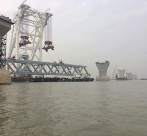Over 1500 meters of Padma Bridge visible as 10th span installed