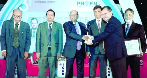 Md. Jamirul lslam Managing Director and CEO of Phoenix lnsurance Co Ltd, receiving the 4th ICSB National Award for Corporate Governance Excellence-2016 in lnsurance category from Commerce Minister Tofail Ahmed, M.P at a city convention center recently. President of ICSB Sanaullah, Commerce Secretary Shubhashish Bose and Former Adviser of Caretaker Government A. B. Mirza Azizul lslam also spoke on the occasion.