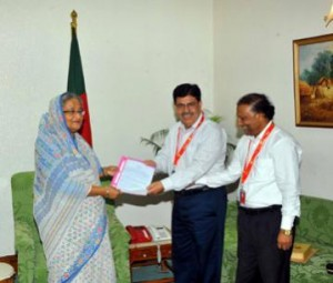 PM hands over land, building documents of Betar to BSMMU