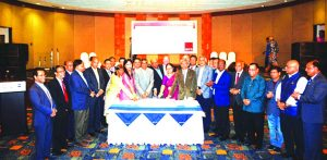 Humayun Rashid, President of International Business Forum of Bangladesh (IBFB), a non-profit and non-partisan research and advocacy based nationwide trade body, inaugurating its 13th anniversary programme by cutting a cake at a hotel in the city on Monday. Hafizur Rahman Khan, immediate President, MS Siddiqui, Vice-President, Lutfunnisa Saudia Khan, Vice-President (Finance), Dr. Md. Ali Afzal, Priti Chakraborty, Mohammad Nasir Uddin Chowdhury, Dr. Md. Mozibur Rahman, M Shoeb Chowdhury, Mohammad Ali Deen, Md. Shah Alam Babul, Dr. AFM Matiur Rahman, Engr. Utpal Kumar Das, Dr. Muhammad Abdul Mazid, Helal Ahmed Chowdhury, directors of IBFB and diplomats with dignitaries were also present.