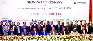 Rahel Ahmed, Managing Director of Prime Bank Limited, poses for a photograph after signing an agreement with Hashem Rice Mills Limited (a concerns of Sajeeb Group) with the syndication of five more financial institutions namely Bank Asia Limited, BASIC Bank Limited, Pubali Bank Limited, SABINCO and Trust Bank Limited at a city hotel on Thursday. Top executive from both institutions were also present.
