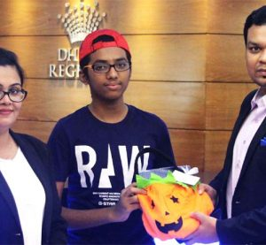 "Dhaka Regency Hotel and Resort hosted a short story writing competition in conjunction with the hotel's Halloween Carnival recently. Winners of the ""Spooky Time Storytelling Competition"" are Sazid Al Ayaat, HumairaNawsheen and Mubinur Rahman Chowdhury Nadvi. Each winner received an exclusive Trick-Or-Treat gift hamper from Dhaka Regency along with complimentary entry to the Halloween Carnival."