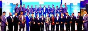 Musleh Ahmed, Chairman of Dhaka Regency Hotel, poses with the participants of the Corporate Night Programme at its Celebration Hall on Thursday. Shahid Hamid, Executive Director of the hotel, country's renowned business companies, representatives from airlines, embassy and tour operators were present.