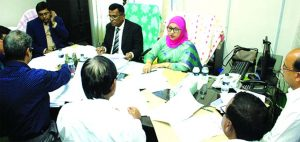 Salma Nasreen, ndc, Additional Secretary to the Finance Division of Finance Ministry and Director, Board of Directors, Bangladesh Development Bank Limited, presiding over a tripartite meeting held at Barisal Divisional Head Office of Rupali Bank on Thursday. Senior official from concern bank were also present.
