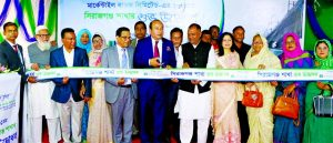 AKM Shaheed Reza, Chairman, Board of Directors of Mercantile Bank Limited, inaugurating its 131st branch at Sirajganj Municipality area on Sunday. Kazi Masihur Rahman, CEO, Senior Executives of the Bank, Wahidul Islam, Vice-President of Sirajganj Chamber and President of Fertilizer Association and local elites were also present.