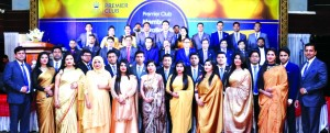Shahid Hamid, Executive Director of Dhaka Regency Hotel, poses with the participants of its 'Premier Club Members' Celebration Night-2018′ at its Celebration Hall on Thursday. Arif Motaher, Founder Chairman of the hotel among others were also present.