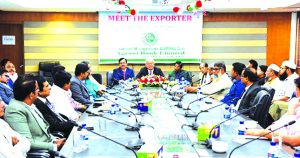 """Mohammad Shams-Ul Islam, Managing Director of Agrani Bank Limited, addressing the """"Meet the Exporter"""" at its head office recently. Renowned businessmen and their representatives attended the programme."""