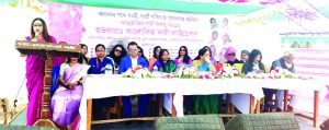 Women entrepreneur Sharmin Selim Tuli, Chairman, Modern Life Hospital and Proprietor of Srotodhara Fashion House, Beyer Biz Body Works & Beauty Salon and Beyer Biz Fitness Club, speaking at the inaugural ceremony of 'Alokito Nari Foundation' marking the International Women's Day-2019 at Dohar in Nawabgonj in Dhaka on Friday. Elites from different sectors were also present.