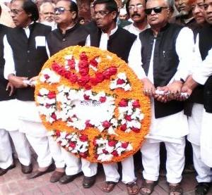 President of Bangladesh Awami Mukthijoddah League Central Committee and others are seen to pay tribute to Bangabandhu