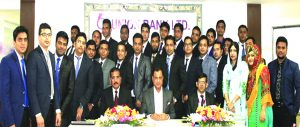A.B.M.Mokammel Hoque Chowdhury, Additional Managing Director of Union Bank Ltd, poses with the participants of a concluding ceremony of Foundation Training Course of the bank's Officers at its training institute recently. DMD Md. Nazrul Islam was present as special guest.