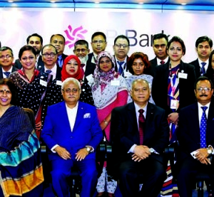 M Wahidul Haque, Chairman of AB Bank Limited, poses with the participants of a 2 day long workshop on 'Customer Service Excellence' at its head office in the city recently. Moshiur Rahman Chowdhury, Managing Director and other senior members of the bank were also present.