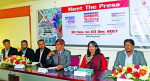 Syed Nurul Islam, Chairman, Well Group Limited, addressing at a press conference aiming the BIGTEX-Bangladesh Int'l Garment & Textile Machinery Expo-2017 at Jatiya Press Club on Sunday. Md. Moazzem Hossain, Sr. Joint Secretary of BKMEA, and Fatematuj Johra, Director of Redcarpet365 Limited among others were present.