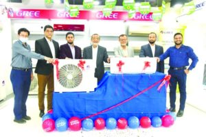 Md. Nurun Newaz Selim, Chairman along with Md. Nurul Amin Faruk, Managing Director, Md. Nuruchchapa Majumdar Babu and Md. Nurul Afsar, DMDs of Electro Mart Limited, unveiling the new series of GREE AC in its corporate office in the capital on Thursday. Other senior officials of the company were present.