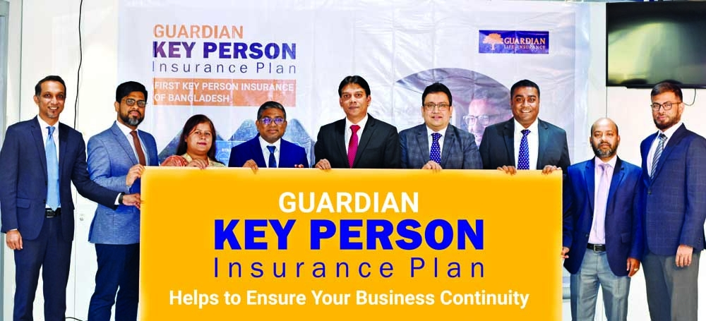 """Sheikh Rakibul Karim, CEO (acting) of Guardian Life Insurance Limited (GLIL), inaugurates the """"Guardian Key Person Insurance Plan"""" at its head office in the capital recently. Mahmudur Rahman Khan, SEVP & Head of Retail Business, Shamim Ahmed, EVP & Chief Operating Officer, Tahsinur Rahim, EVP & Head of Internal Audit & Compliance, Mohammad Masuduzzaman Khan, EVP & Head of Underwriting & Policy Servicing Department and other senior management officers of the company were present."""
