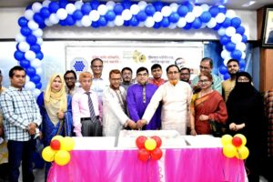 Prof. Dr. Md. Kismatul Ahsan, Chairman along with Md. Abul Hossain, Managing Director and other executives of Investment Corporation of Bangladesh (ICB), cutting a cake on the occasion of its 45th founding anniversary at ICB head office in the capital recently.