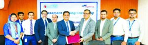 Md Shafiqul Islam, Head of Marketing and Sales of US-Bangla Airlines Limited and Md Kamruzzaman, Head of Retail Banking of ONE Bank Limited (OBL), exchanging documents after signing an agreement at the bank's head office in the city recently. As per the deal, OBL Debit, Credit and Prepaid card holders will enjoy 10 percent discount on the base fare of domestic air tickets