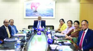 M A Kashem, Executive Committee Chairman of Southeast Bank Limited, presiding over its 403rd meeting at the bank's head office in the capital on Wednesday. Duluma Ahmed, Jusna Ara Kashem, Rehana Rahman, Md. Akikur Rahman, Zakir Ahmed Khan, Directors and M. Kamal Hossain, Managing Director of the bank were present.