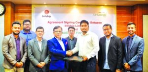 Lanka Bangla Caption: Khurshed Alam, Senior Executive Vice President and Head of Retail Business of LankaBangla Finance Limited and Rahad Hossain, Country Manager of Infobip, Bangladesh, exchanging documents after signing an agreement in a city hotel on Thursday.