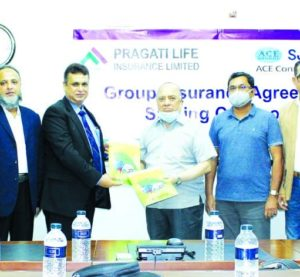 M J Azim, Managing Director & CEO of Pragati Life Insurance Limited (PLIL) and Md. Rafiquzzaman, Managing Director of ACE Consultants Limited, exchanging document after signing an agreement in the capital recently. Under the deal, PLIL will provide Group Life & Health Insurance coverage to the employees of ACE Consultants Ltd. Top executives from both sides were present.