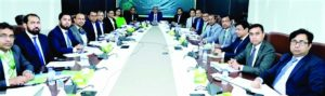 """Md. Shafiul Azam, Managing Director & CEO of Modhumoti Bank Limited, presiding over the bank's """"Business Review Meeting 2021"""" for Dhaka & nearby Dhaka Based-branches held at its head office in the capital on Saturday. Shahnawaj Chowdhury, DMD, Md. Shaheen Howlader, SEVP & Head of Corporate & Investment Banking Division and Fahmida Saeed Saki, EVP & Head of International Division and high officials of the bank were present."""